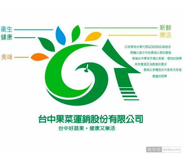 新的logo是在近百件优秀作品中选出,由陈文顺先生「台中好蔬果,健康又